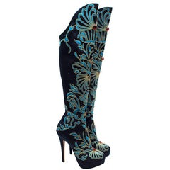 Charlotte Olympia Prosperity Blue & Gold Knee High Boots - Size EU 38