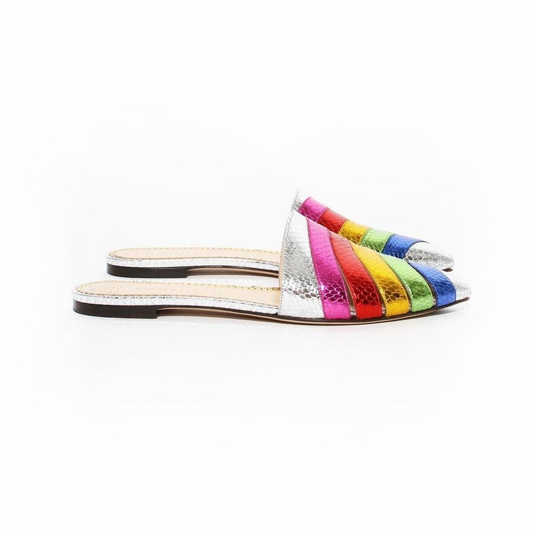 Charlotte Olympia Rainbow Slides In Good Condition For Sale In Los Angeles, CA