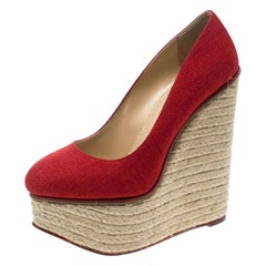 Charlotte Olympia Red Canvas Carmen Espadrille Platform Wedge Pumps Size 37