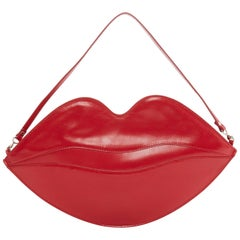 CHARLOTTE OLYMPIA red leather lip top handle flat pouch clutch bag