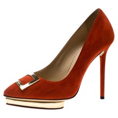 Charlotte Olympia Red Suede Fairest Of Them All Platform Pumps Size 36.5