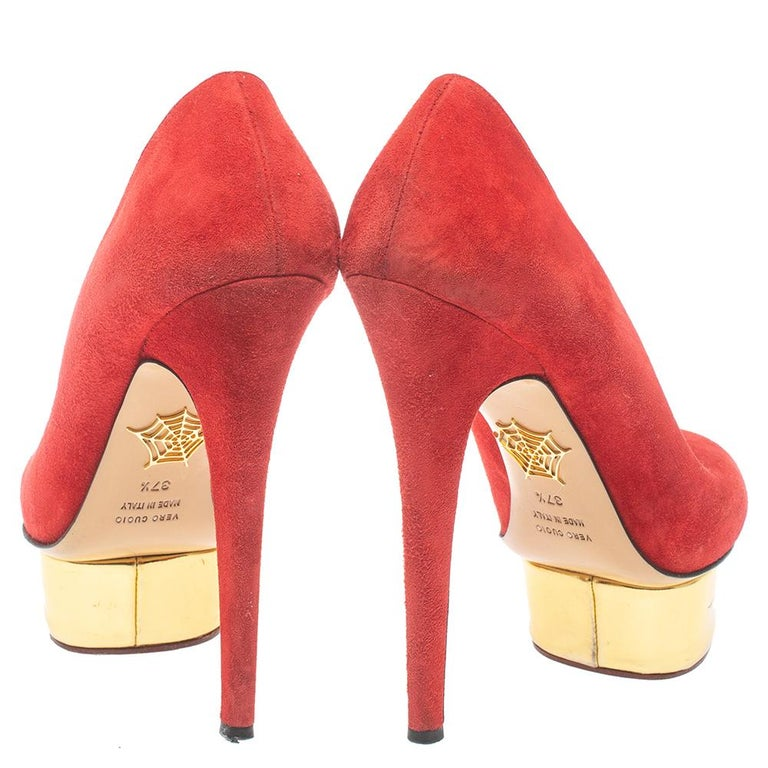 Orange Charlotte Olympia Red Suede Leather Dolly Platform Pumps Size 37.5 For Sale