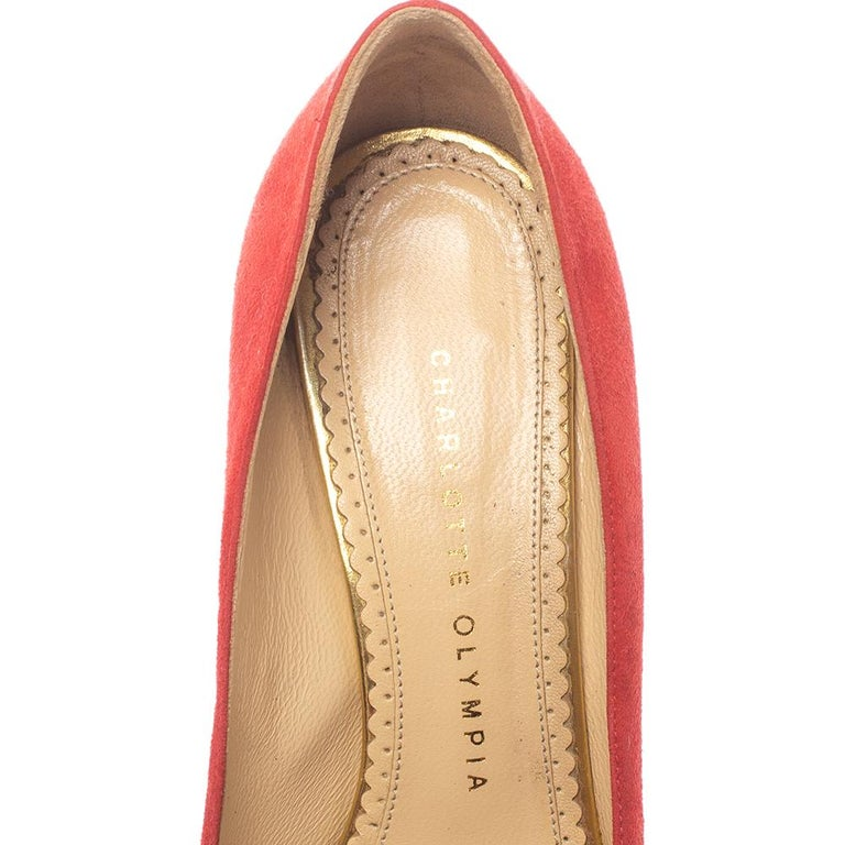 Charlotte Olympia Red Suede Leather Dolly Platform Pumps Size 37.5 For Sale 1