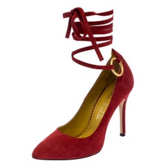 Charlotte Olympia Red Suede Sabine Wrap Pumps Size 36