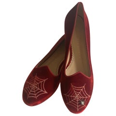 Charlotte Olympia Red Velvet Spider Web Smoking Slipper Loafer Flat