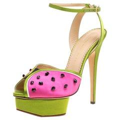 Charlotte Olympia Satin Mouthwatering Crystal Embellished Platform Sandals 39
