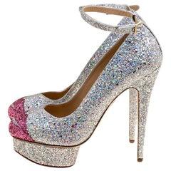 Charlotte Olympia Silver Coarse Glitter Kiss Me Dolores! Platform Pumps size 40