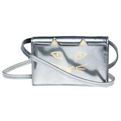 Charlotte Olympia Silver Patent Leather Feline Crossbody Bag