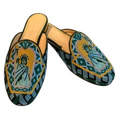 Charlotte Olympia Statue of Liberty Embroidered Mule Slide Flat Shoe