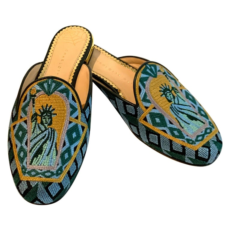 Charlotte Olympia Statue of Liberty Embroidered Mule Slide Flat Shoe For Sale