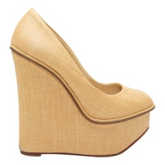 Charlotte Olympia Tan Woven Straw Wedges