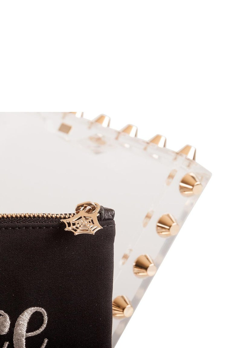 Women's Charlotte Olympia Transparent Studded Perspex Naughty and Nice Clutch For Sale