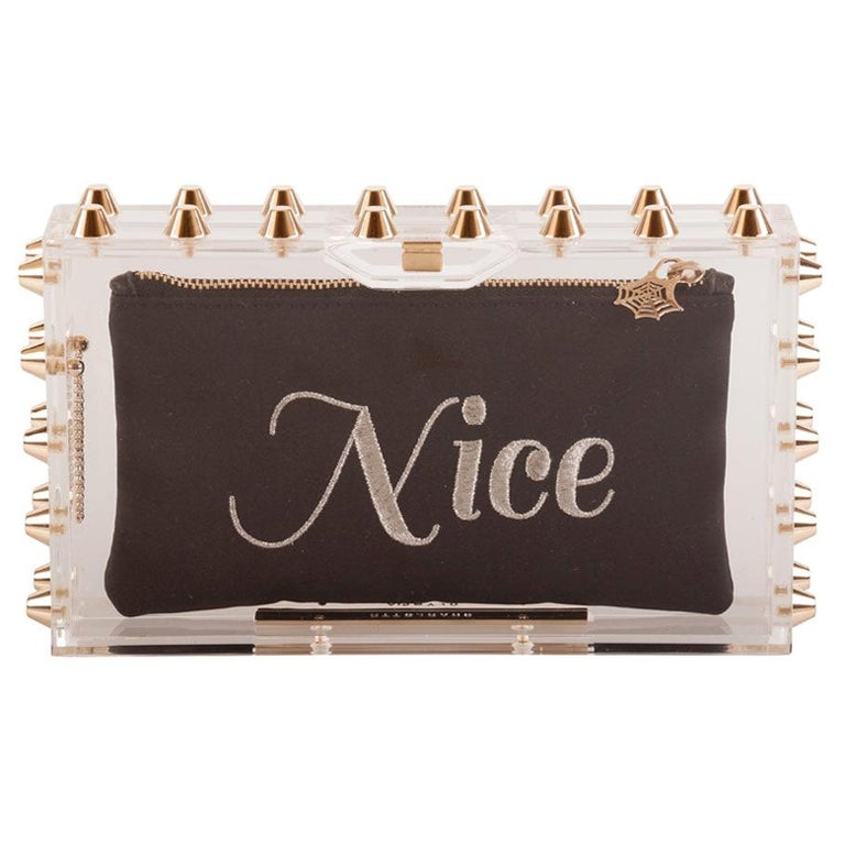Charlotte Olympia Transparent Studded Perspex Naughty and Nice Clutch For Sale
