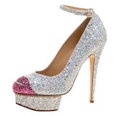 Charlotte Olympia Two Tone Glitter Kiss Me Dolores! Ankle Strap Platform Pumps S