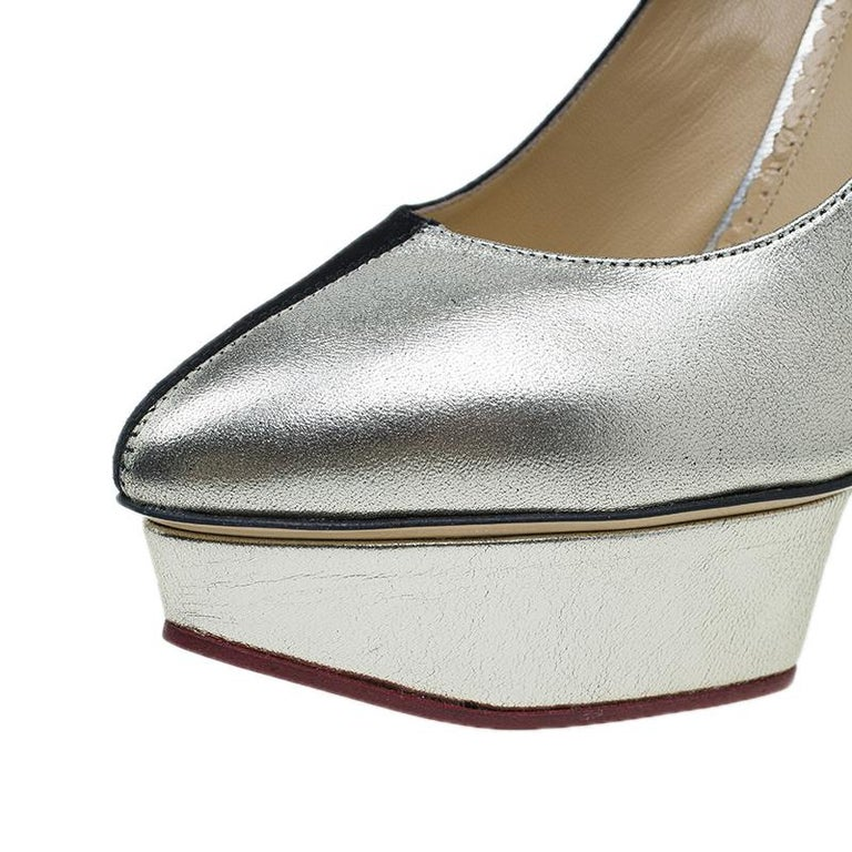 Charlotte Olympia Two Tone Leather Mercury Platform Pumps Size 39 For Sale 5