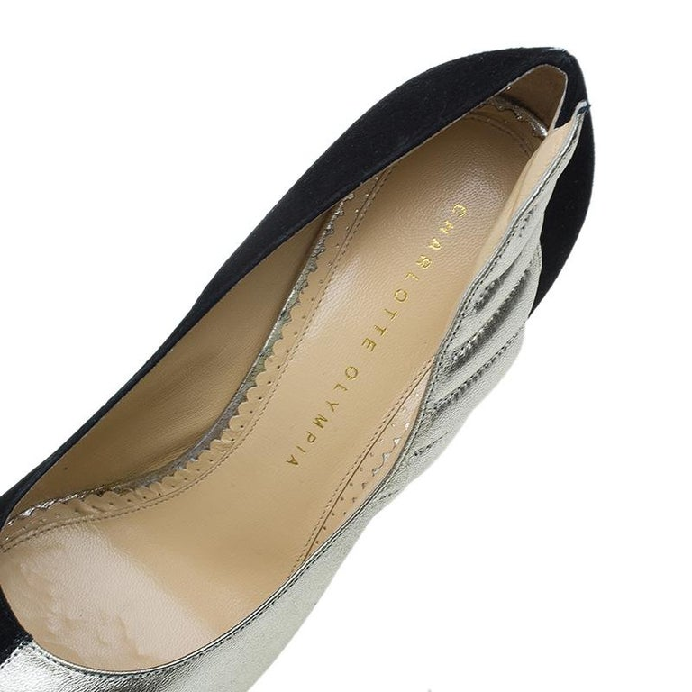Charlotte Olympia Two Tone Leather Mercury Platform Pumps Size 39 For Sale 2