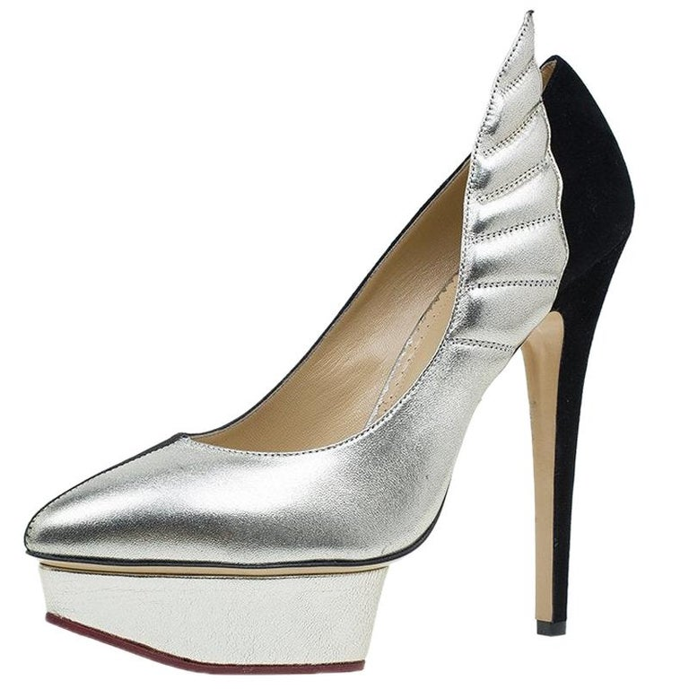 Charlotte Olympia Two Tone Leather Mercury Platform Pumps Size 39 For Sale