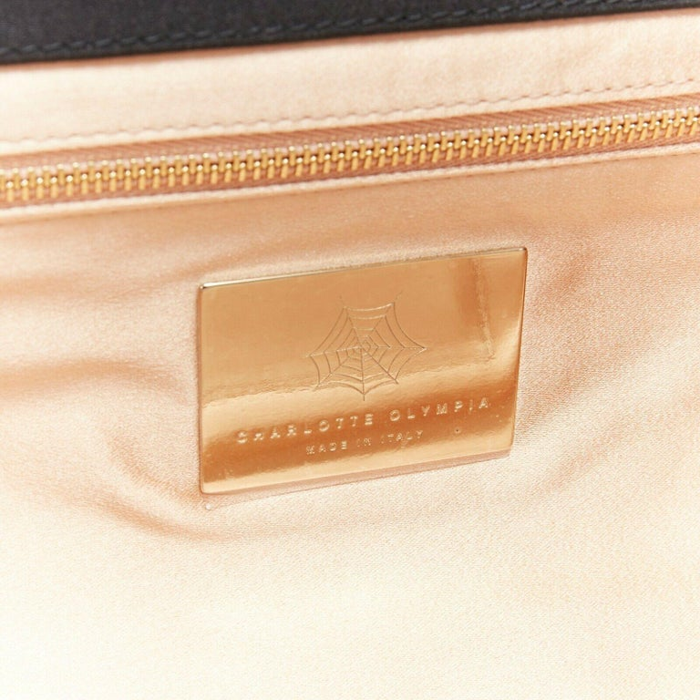 CHARLOTTE OLYMPIA Whisper grey nude pin up embroidered magazine clutch bag For Sale 5