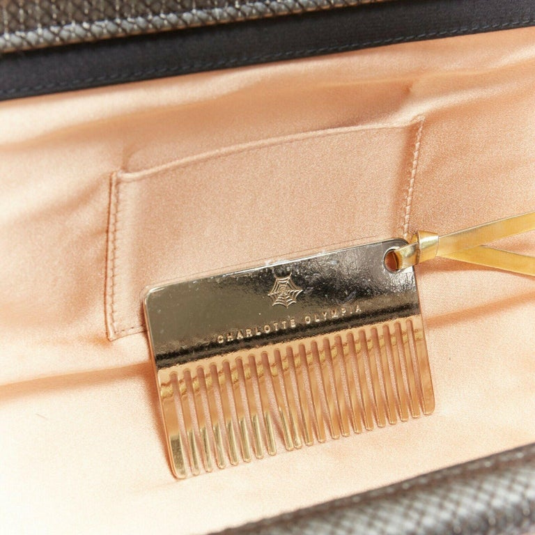 CHARLOTTE OLYMPIA Whisper grey nude pin up embroidered magazine clutch bag For Sale 6
