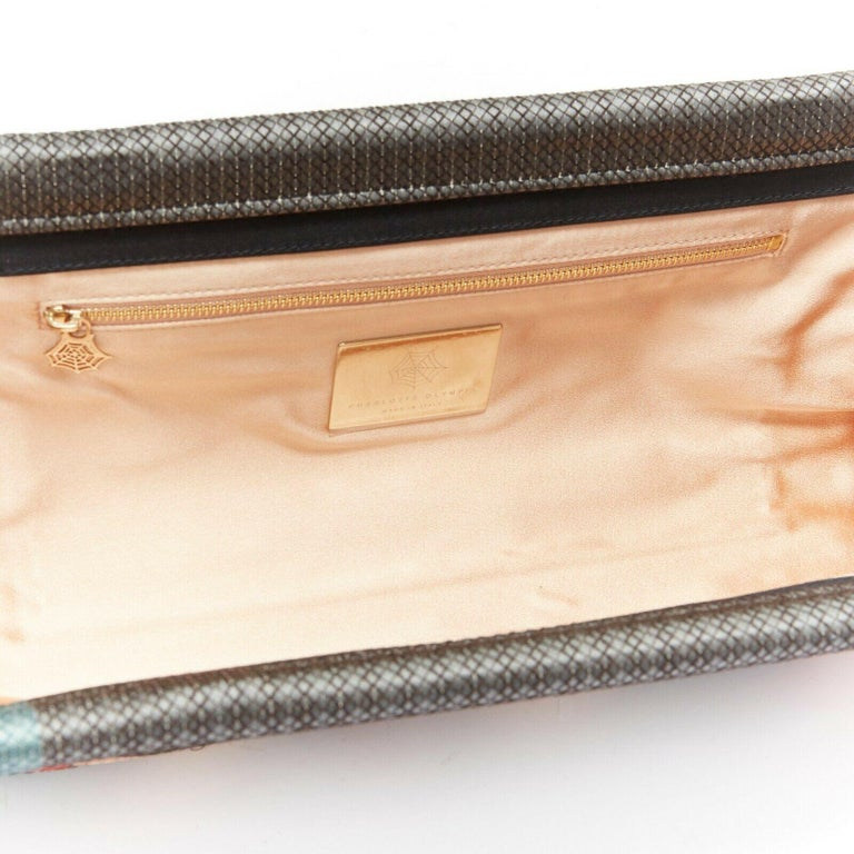 CHARLOTTE OLYMPIA Whisper grey nude pin up embroidered magazine clutch bag For Sale 4