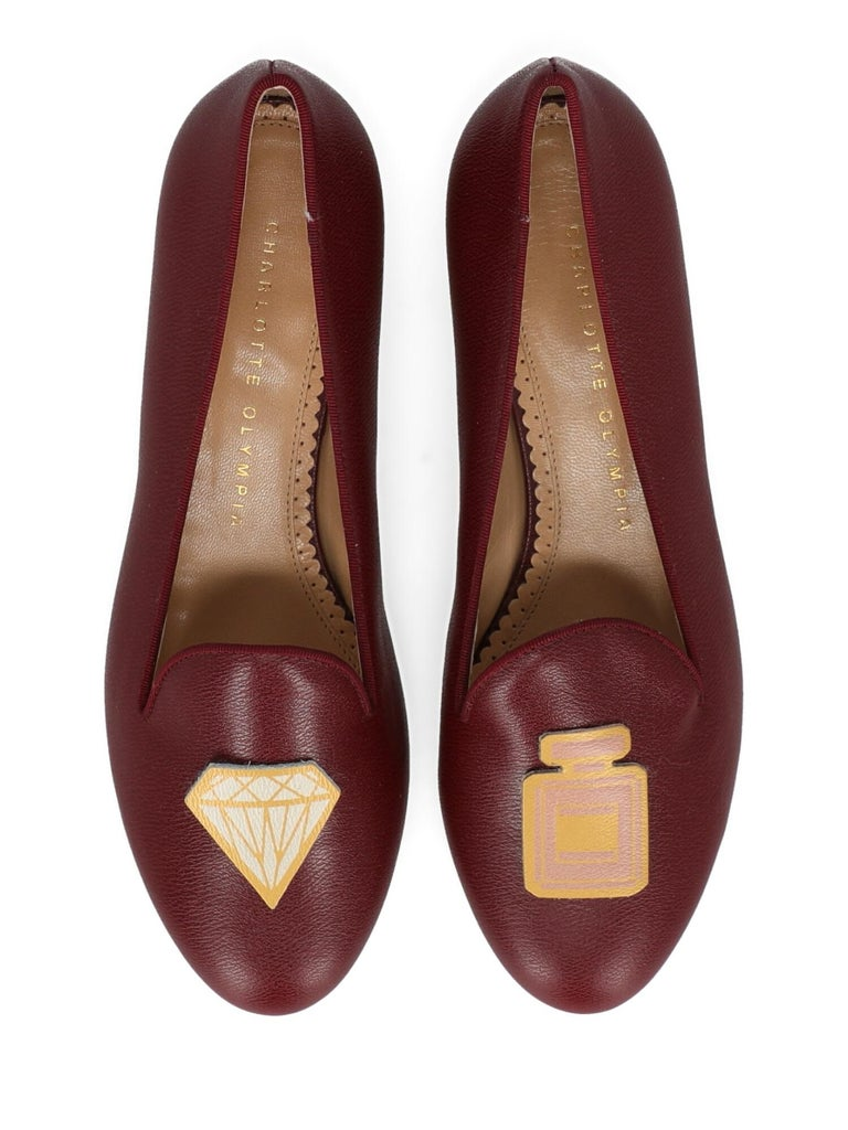 Women's Charlotte Olympia Woman Ballet flats Burgundy Leather IT 36 For Sale