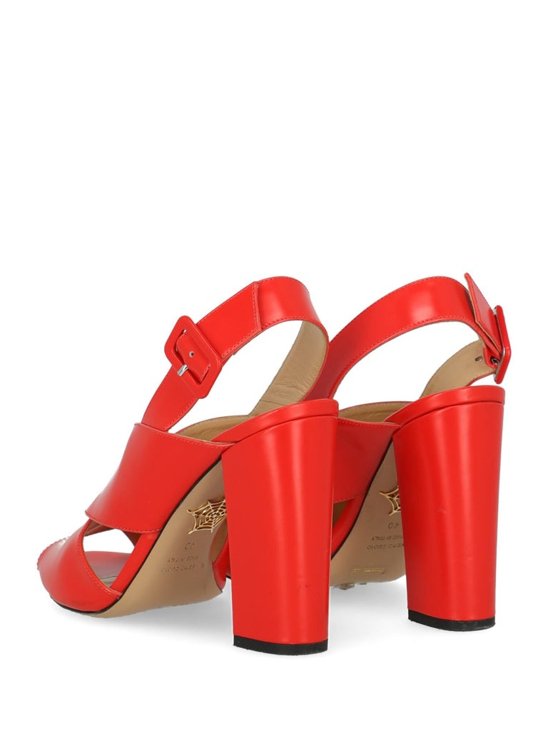 Charlotte Olympia Woman Sandals Red Leather IT 40 In Good Condition For Sale In Milan, IT
