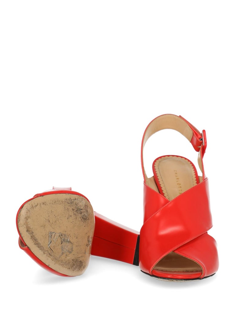 Women's Charlotte Olympia Woman Sandals Red Leather IT 40 For Sale