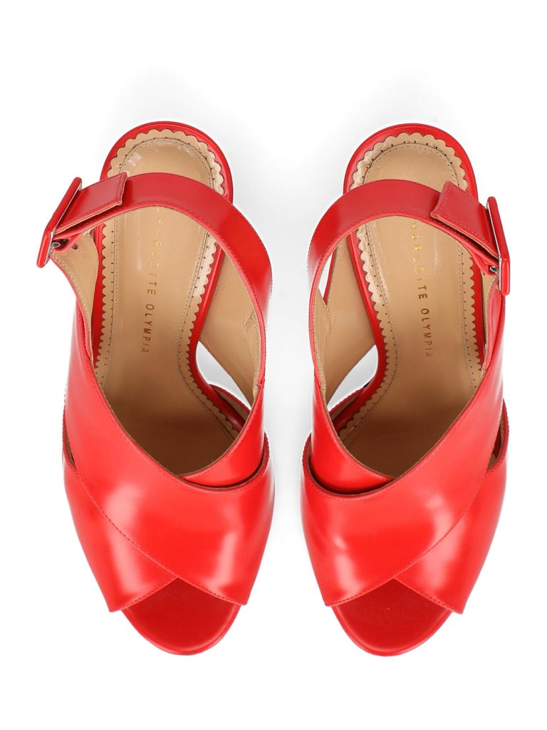 Charlotte Olympia Woman Sandals Red Leather IT 40 For Sale 1