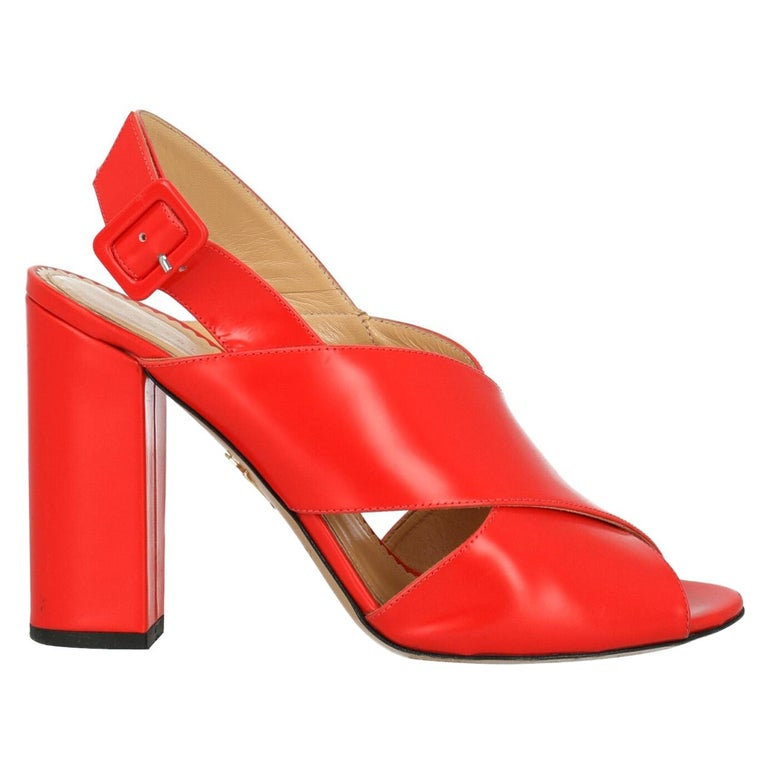 Charlotte Olympia Woman Sandals Red Leather IT 40 For Sale