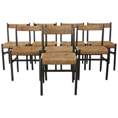 Charlotte Perriand Attributed Dining Chairs for Robert Sentou, Set of 8