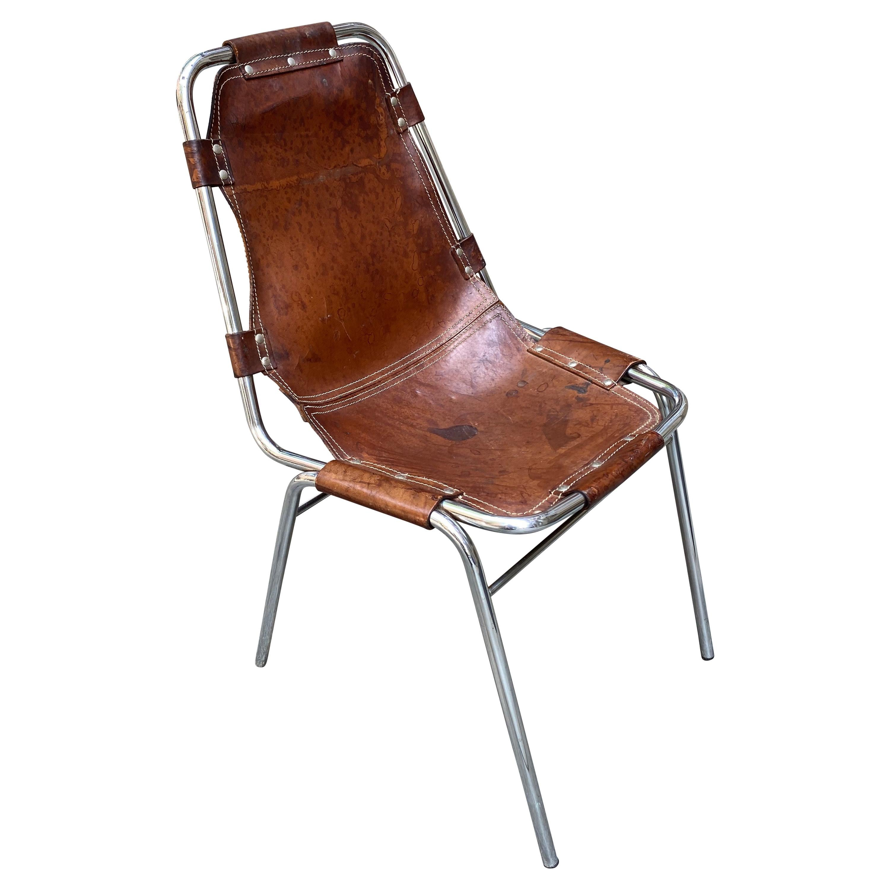 """Charlotte Perriand Chrome and Leather """"Les Arcs"""" Chair"""