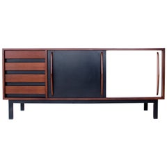 Charlotte Perriand Consado Sideboard Buffet Mahogany Wood Black White Laminate