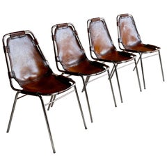 Charlotte Perriand Dining Chairs Leather 4 Les Arcs 1970s Set No 2