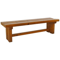 Charlotte Perriand Documented Solid Pine Wood Bench, 1977