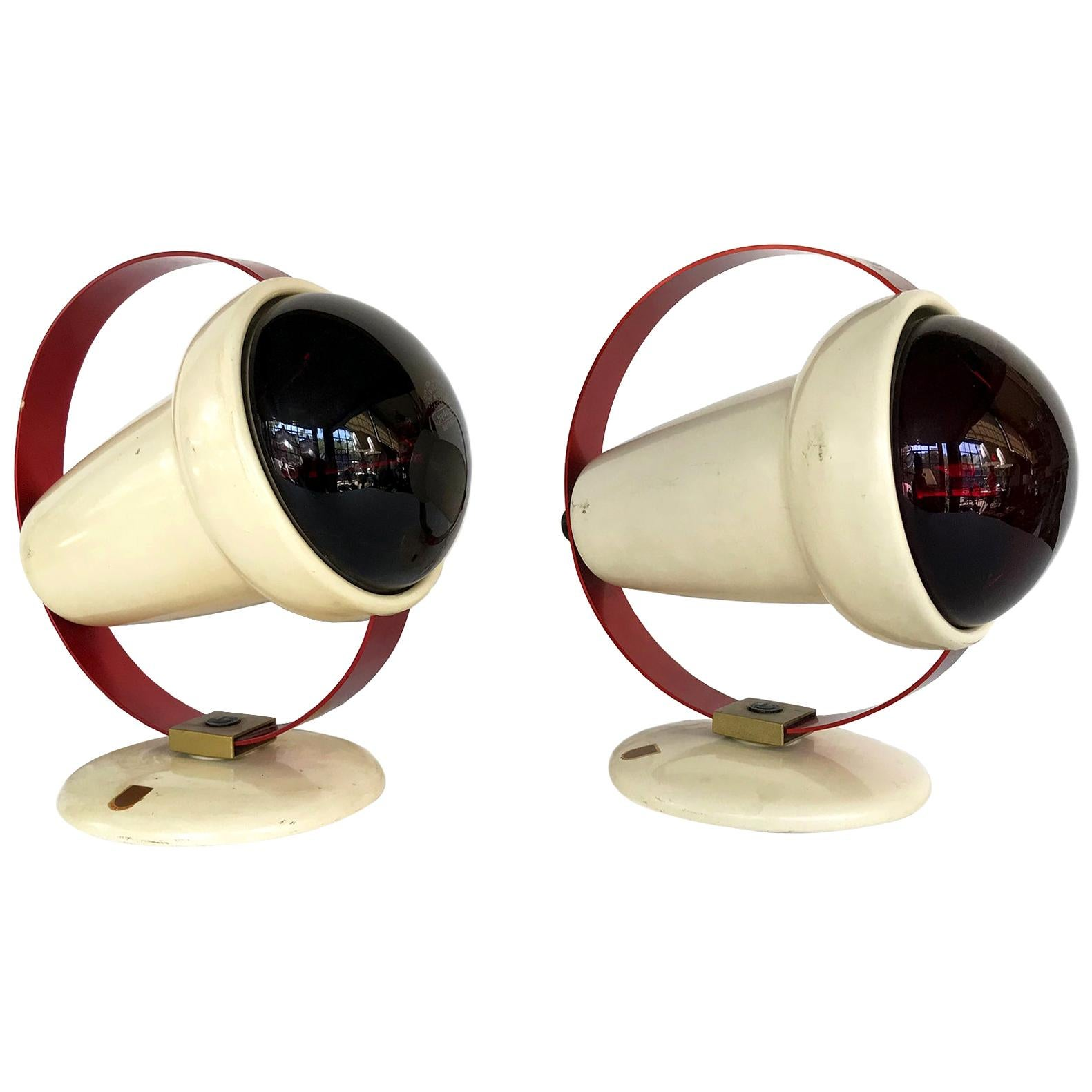 """Charlotte Perriand """"Infraphil"""" Heat Table Lamps or Sconces by Philips"""