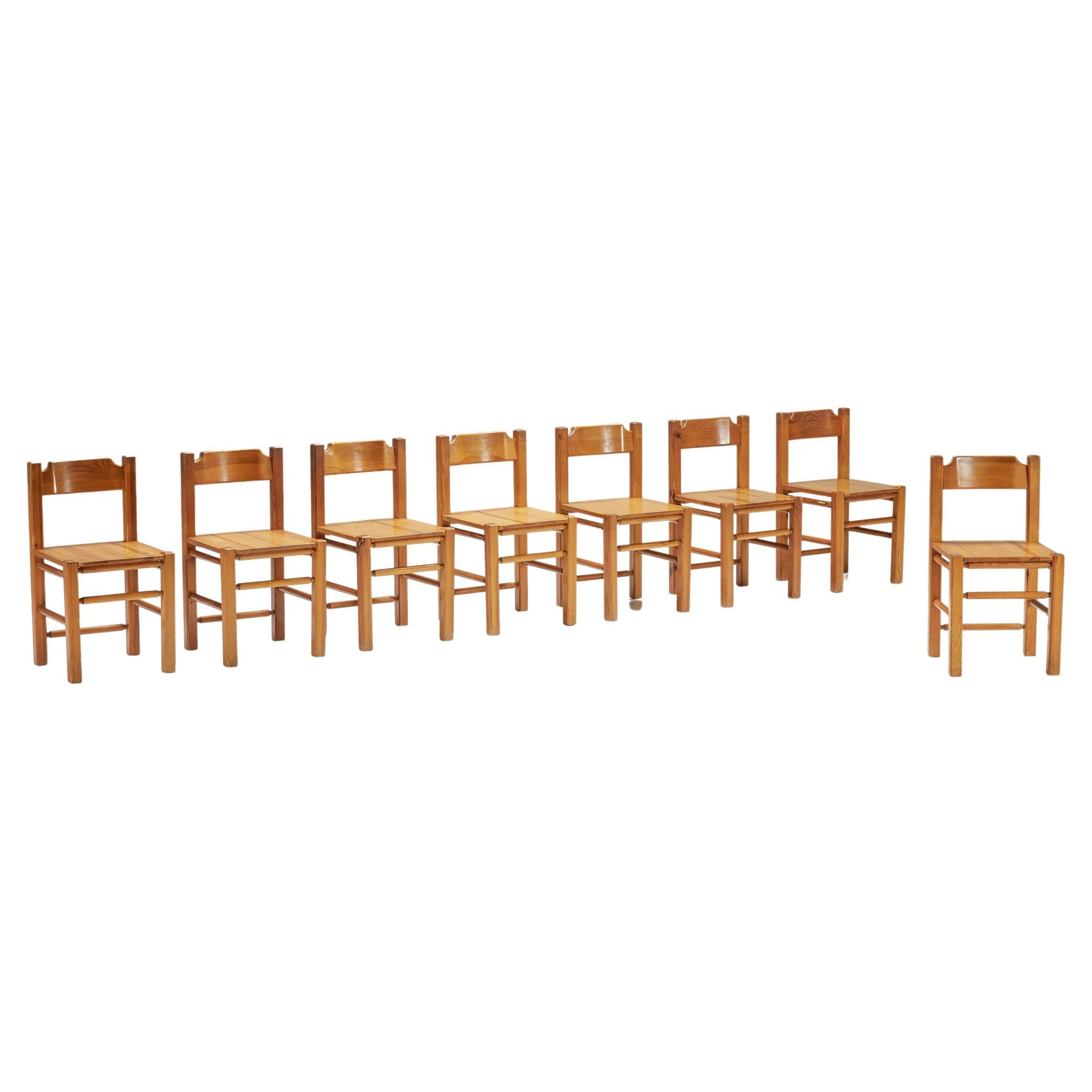 Charlotte Perriand Inspired Pine Dining Chairs