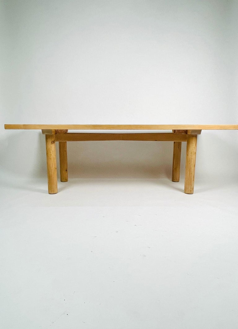 Stained Charlotte Perriand, Large & Rare Pine Table from Méribel, France 1950. For Sale