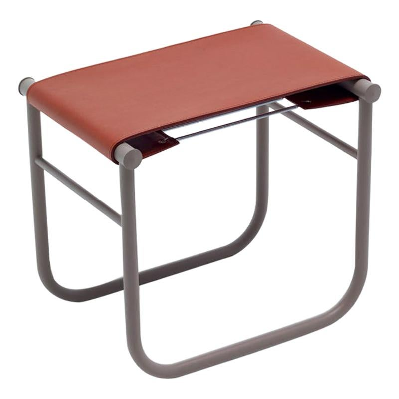 Charlotte Perriand LC9 Stool, Leather and Steel by Cassina