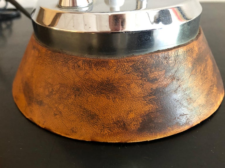 Charlotte Perriand Leather and Chrome Desk Lamp In Good Condition For Sale In Hudson, NY