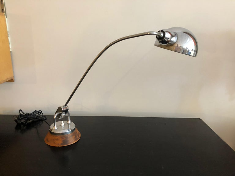 Mid-20th Century Charlotte Perriand Leather and Chrome Desk Lamp For Sale