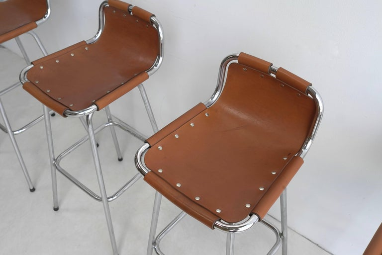 Leather Barstools For Les Arc Ski Resort France 1960s At