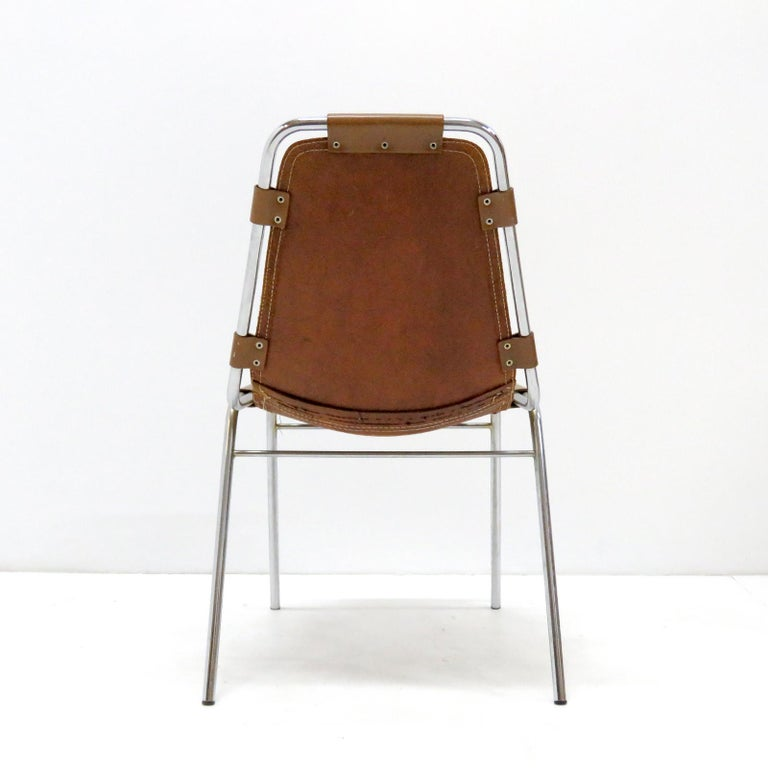 """Leather """"Les Arc"""" Chairs Selected by Charlotte Perriand For Sale"""