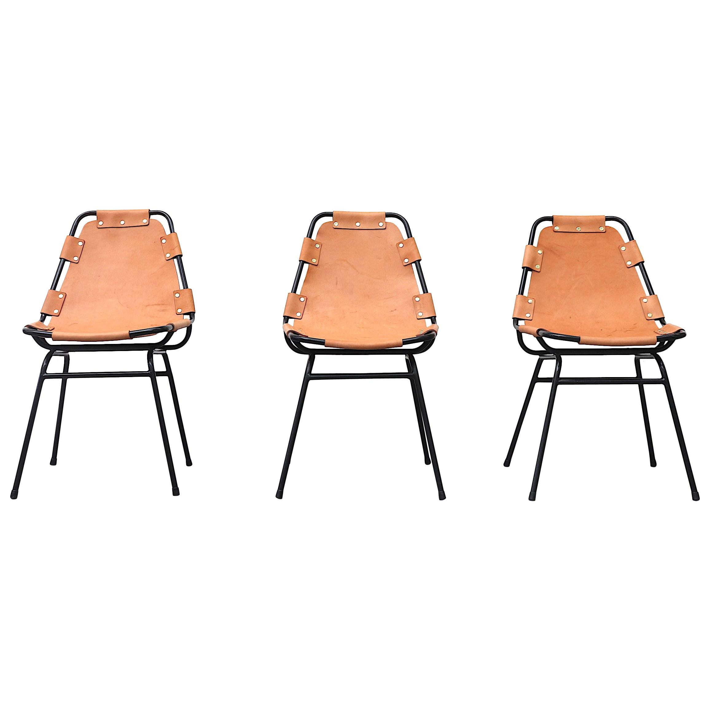 Charlotte Perriand-Les Arc Style Leather Chairs
