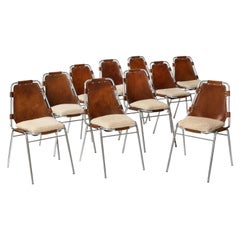 Charlotte Perriand Les Arcs Set of 10 Dining Chairs with Sheepskin Cushions
