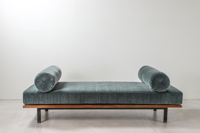 Cansado bench designed by Charlotte Perriand in 1958, mahogany bench with steel frame & legs with newly upholstered seat cushions in Mohair Velvet by Thurstan. The bench itself was built for the city Cansado, a town built in the late 1950s by the