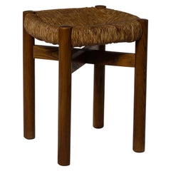 Charlotte Perriand 'Meribel' Stool in Stained Ash and Rush