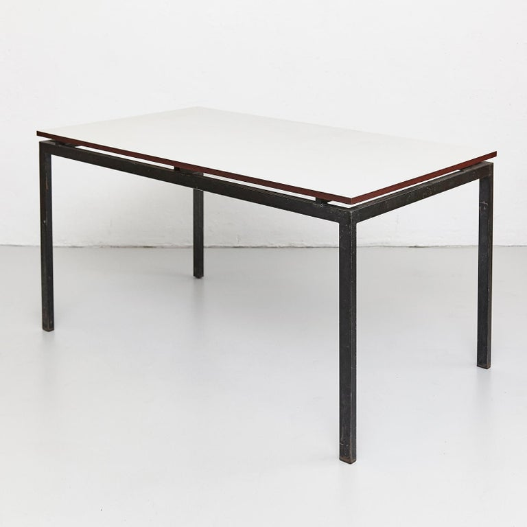French Charlotte Perriand Mid-Century Modern Black and Grey Cansado Table, circa 1950 For Sale