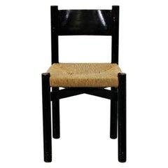 Charlotte Perriand Mid-Century Modern Black Meribel Dining Chair, circa 1950
