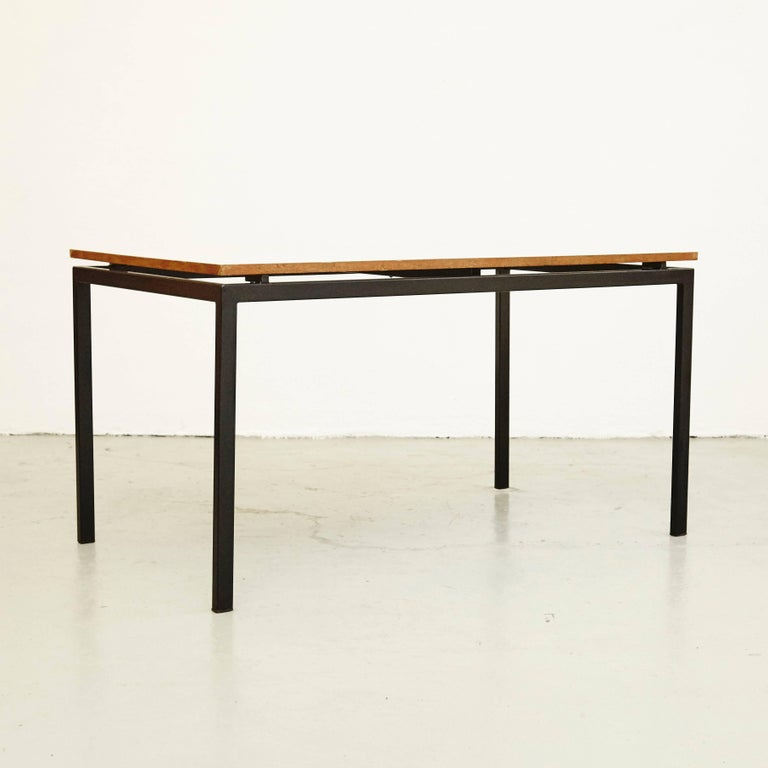 French Charlotte Perriand Mid-Century Modern Metal and Formica Cansado Table circa 1950 For Sale