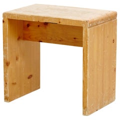Charlotte Perriand Mid-Century Modern Pine Wood Stool for Les Arcs